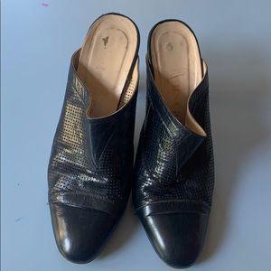 Vintage Shoes - Vintage Italian perforated leather heeled mules 6